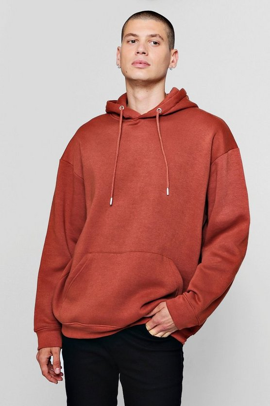 Mens Fleece Oversized Over The Head Hoodie