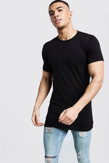 Mens Black Longline Muscle Fit T-Shirt