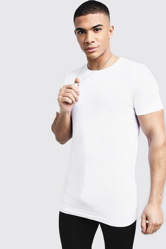 Longline Muscle Fit T-Shirt, White, Uomo