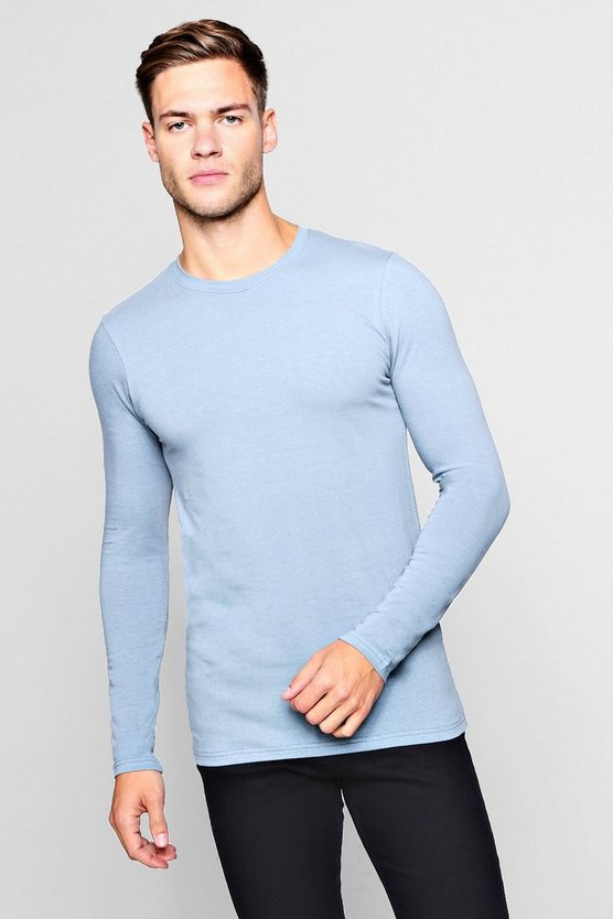 Mens Duck egg Long Sleeve Muscle Fit T-Shirt