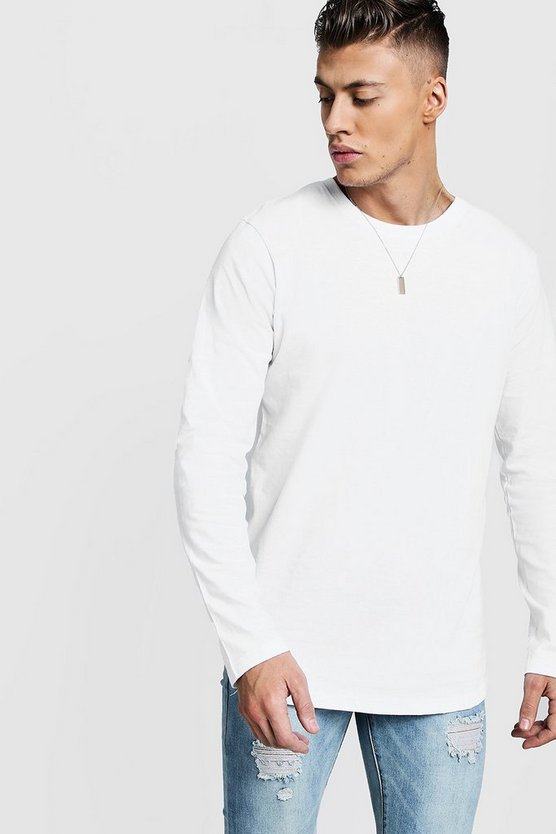 Mens White Long Sleeve Longline T-Shirt With Curve Hem
