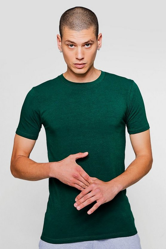 Green Muscle Fit Crew Neck T Shirt