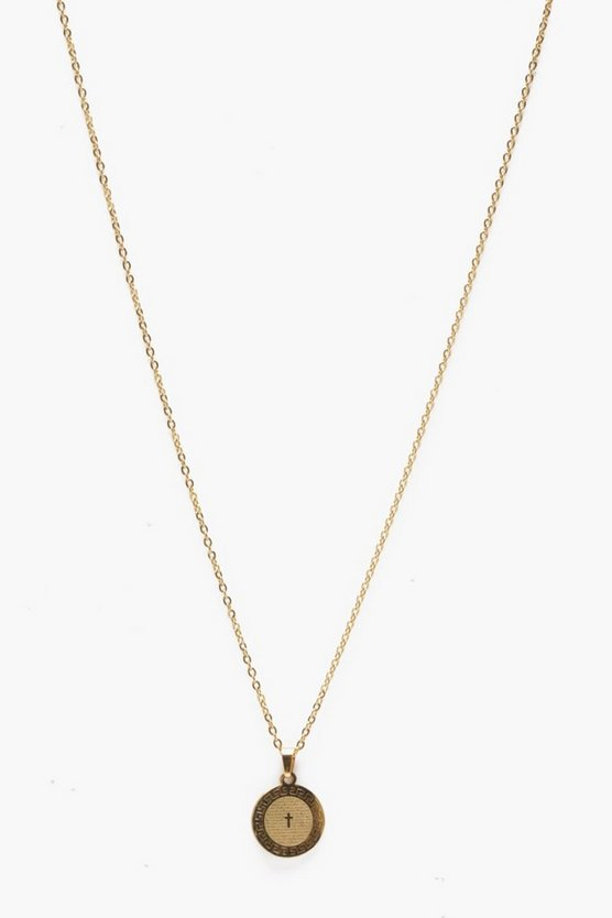 Mens Gold Engraved Coin Necklace