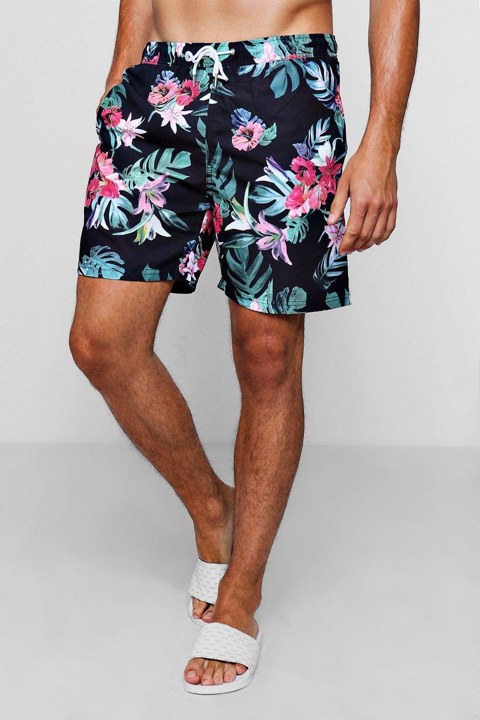 903c8d4cd2767 Mens Black Floral Print Swim Shorts