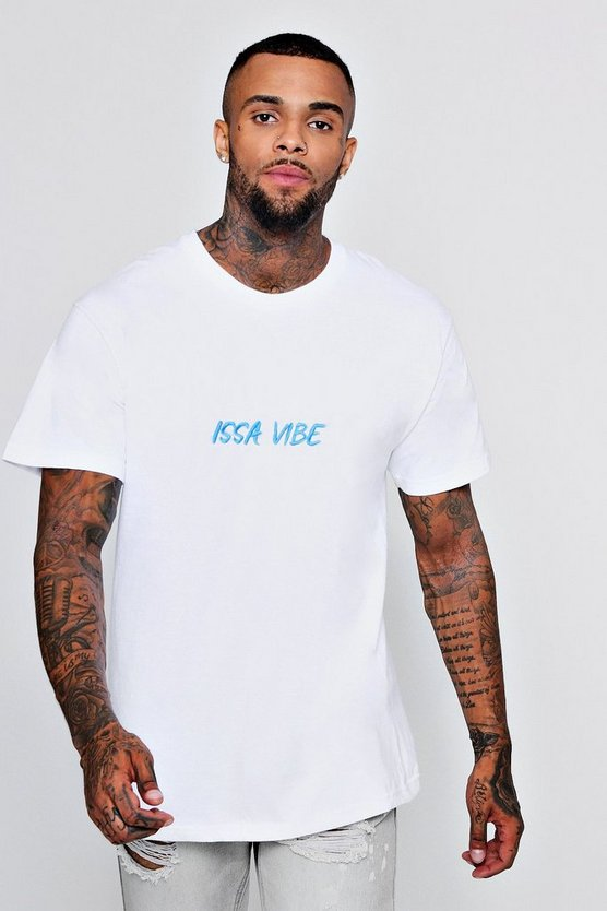Embroidered Issa Vibe Oversized T-Shirt
