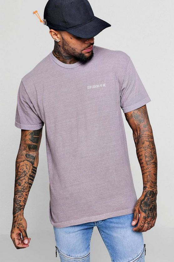 Washed Embroidered Stop Looking Oversized T-Shirt, Bark, HOMBRE