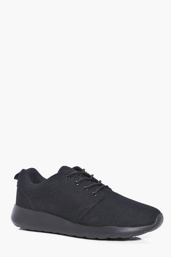 Black Mesh Upper Lace Up Trainer