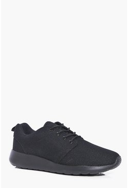 Mens Black Mesh Upper Lace Up Trainer