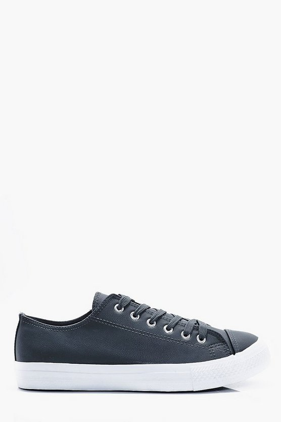 Faux Leather Lace Up Plimsole