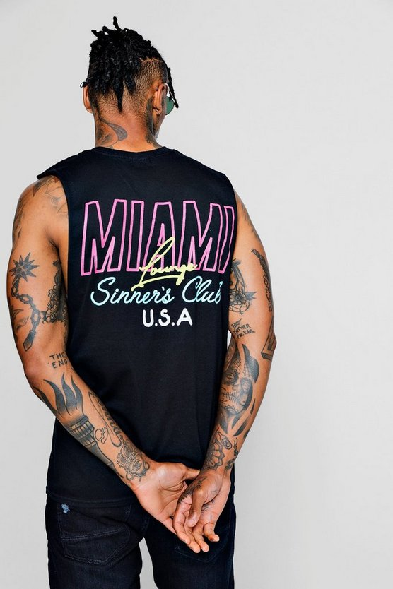 Mens Black Miami Lounge Neon Print Tank