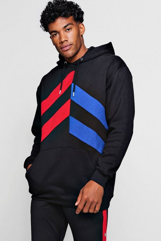 Loose Fit Panelled Colour Block Hoodie