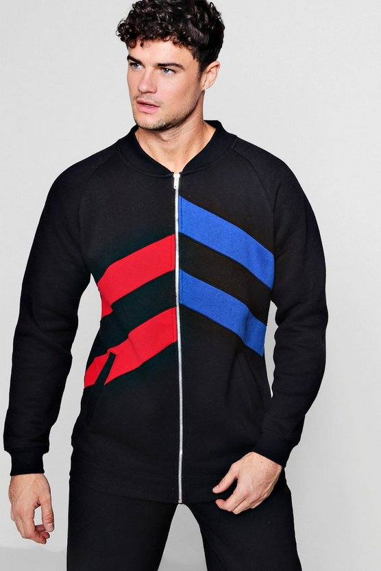 Panelled Colour Block Slim Fit Bomber