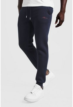 Mens Navy MAN Signature Slim Fit Joggers