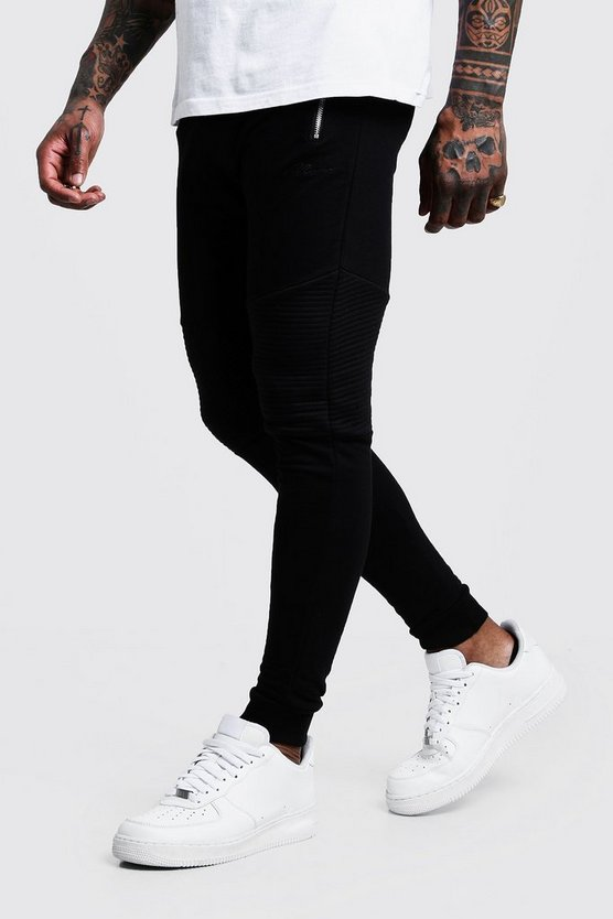 Mens Black Man Signature Biker Joggers
