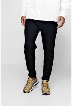 Mens Black Cropped Fleece Jersey Jogger