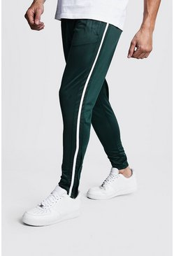 Skinny Fit Tricot Joggers With Side Tape, Bottle green, Uomo