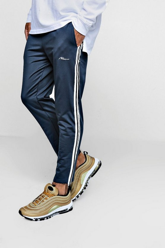 Tapered Tricot Joggers With Tape Detail