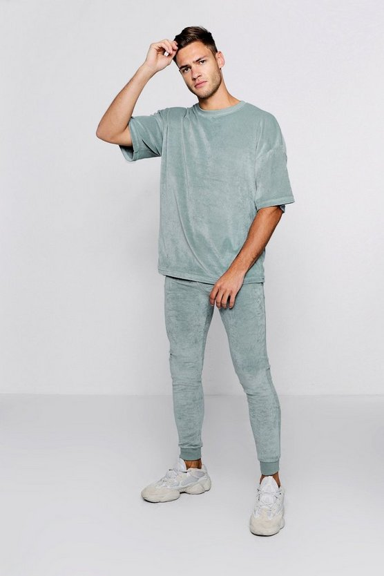 Oversized Velour T-Shirt & Jogger Set