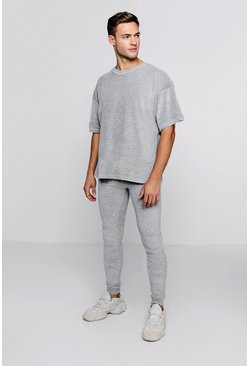 Oversized Velour T-Shirt & Jogger Set, Grey, Uomo