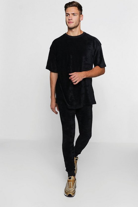 Mens Black Oversized Velour T-Shirt & Jogger
