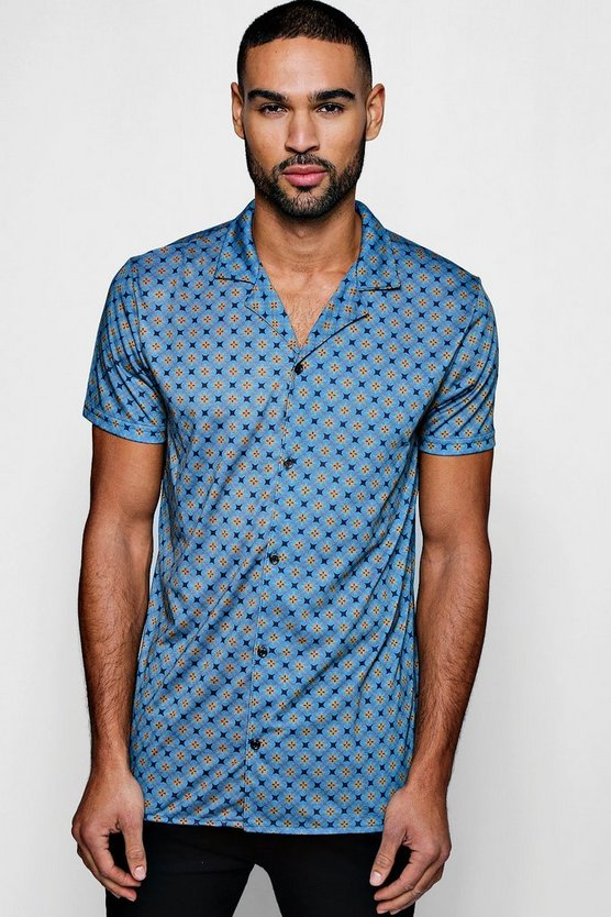 Mens Blue Geo Star Print Short Sleeve Jersey Shirt