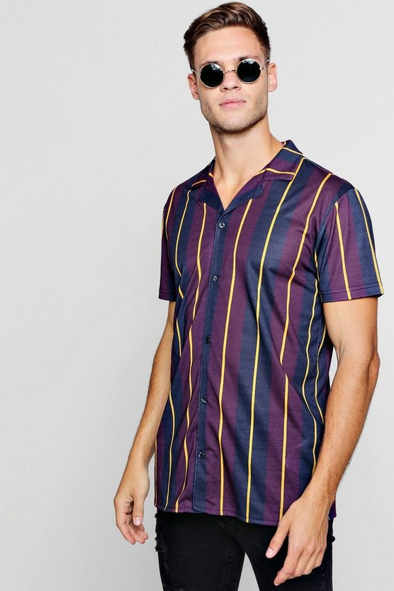 Block Stripe Short Sleeve Jersey Shirt