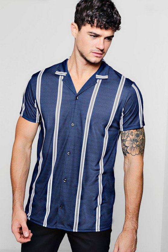 Mens Navy Multi Stripe Short Sleeve Jersey Shirt