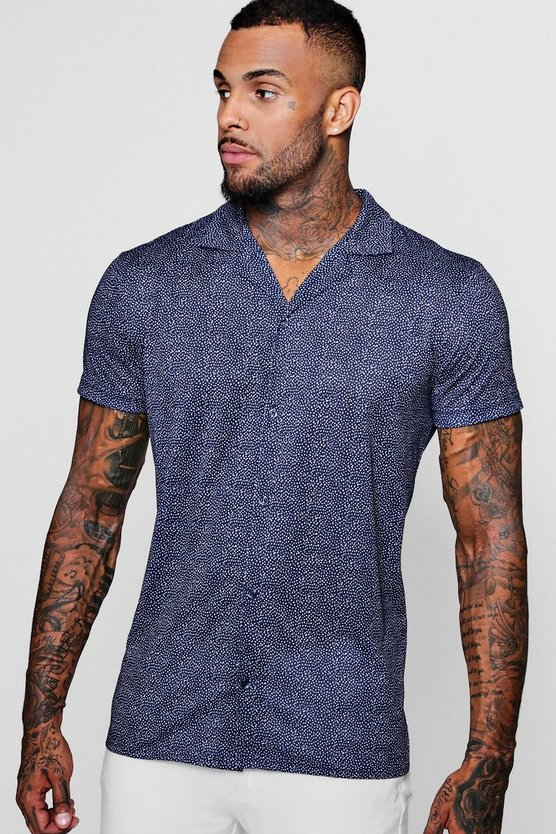 Polka Dot Short Sleeved Revere Shirt