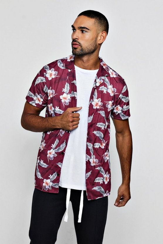 Mens Burgundy Leaf Print Short Sleeve Revere Shirt
