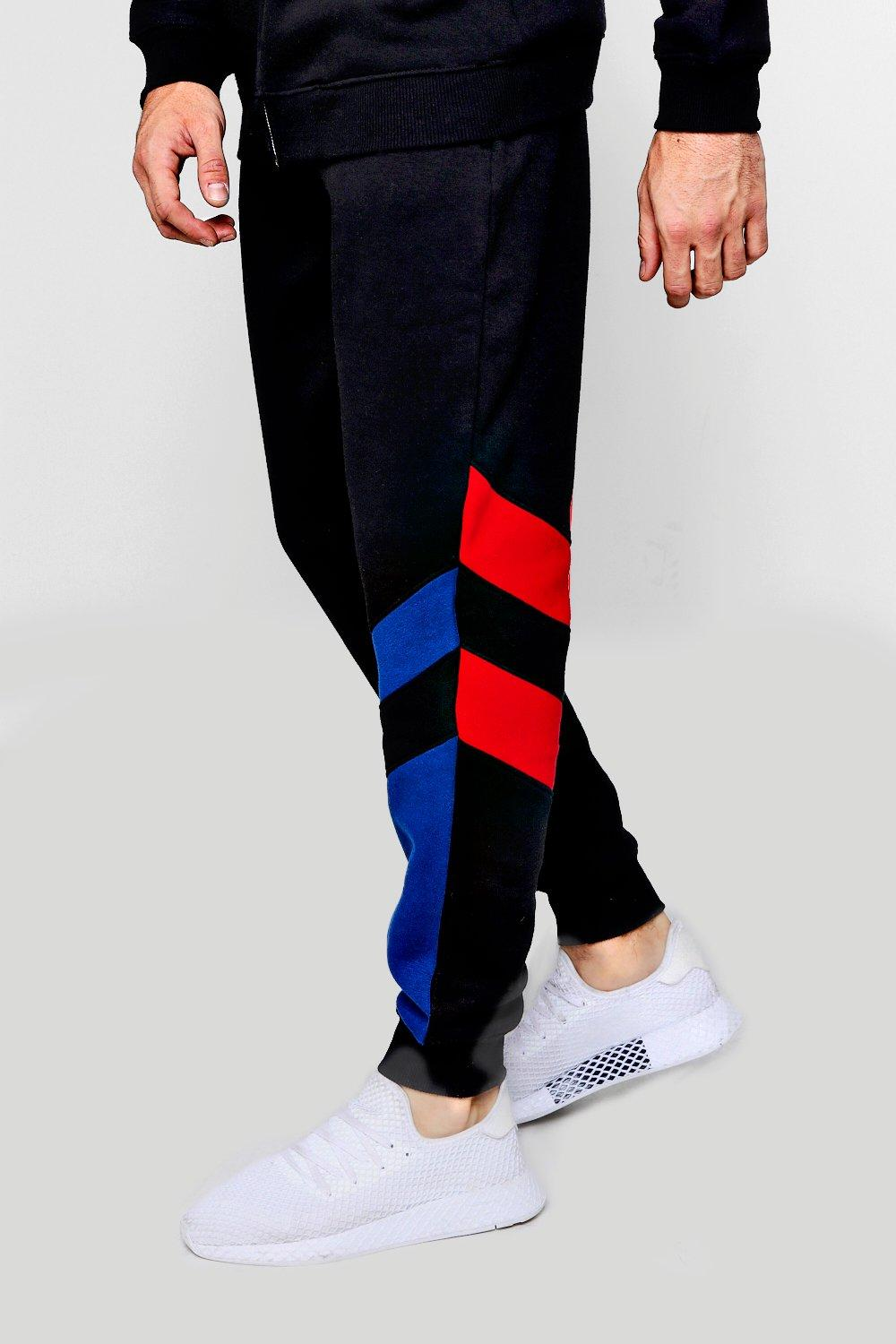 black Loose Panel Joggers Jersey Fit Double XwXRTqa86A