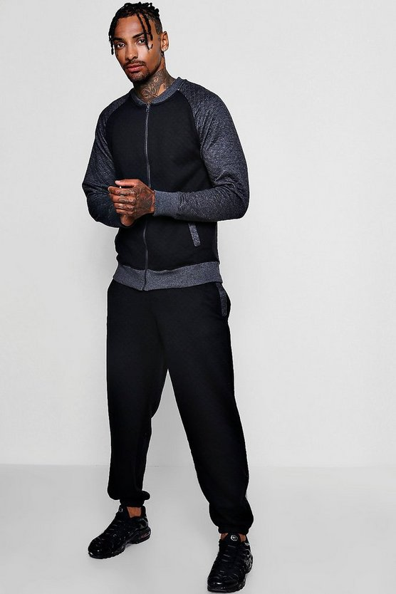 Bomber Tracksuit With Contrast Sleeves