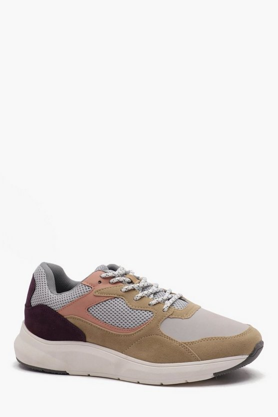 Mens Stone Chunky Sole Panelled Trainer