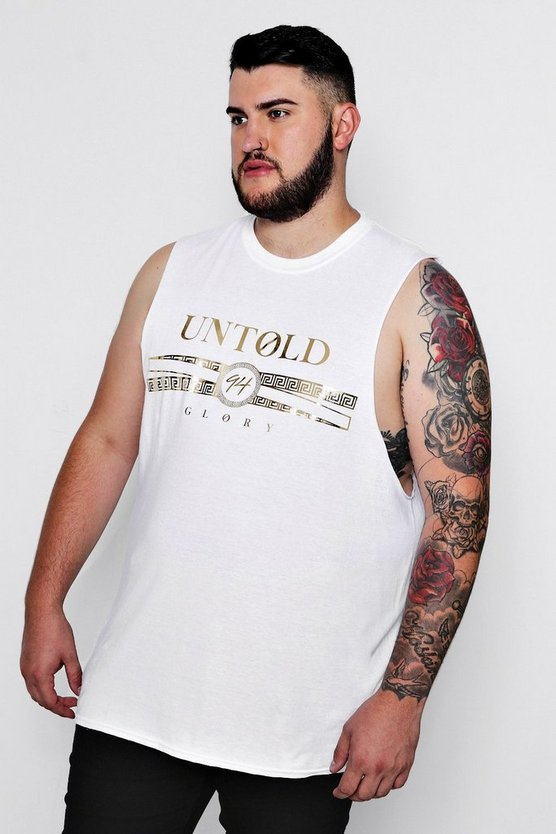 Big & Tall Foil Design Slogan Tank, White, Uomo