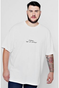 Mens White Big & Tall Out Of Office T-Shirt