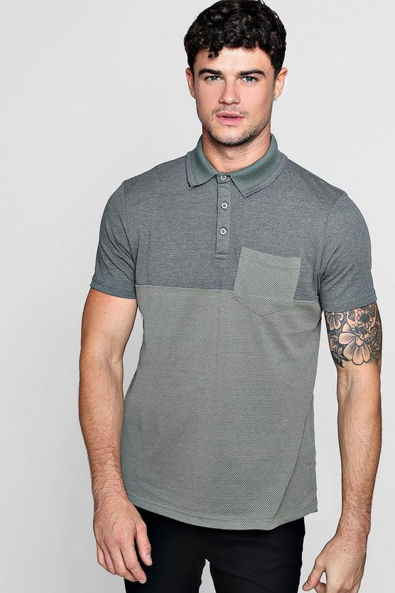 Mens Green Colour Block Polo