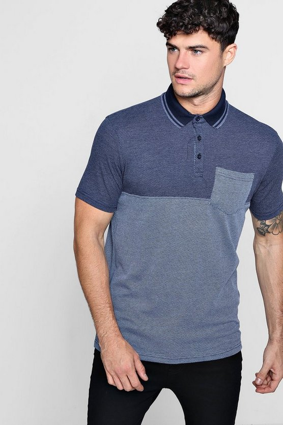 Mens Navy Colour Block Polo
