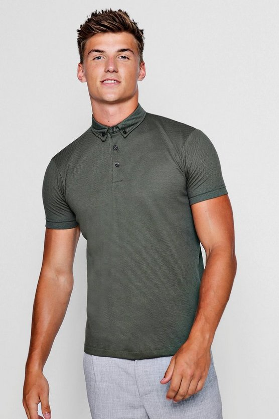 Textured Jersey Polo