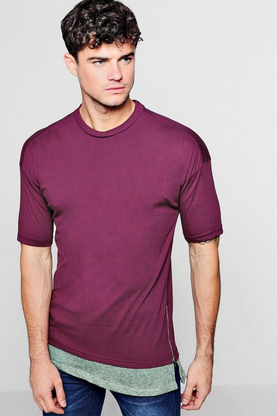 Longline T-Shirt With Step Hem And Side Zips