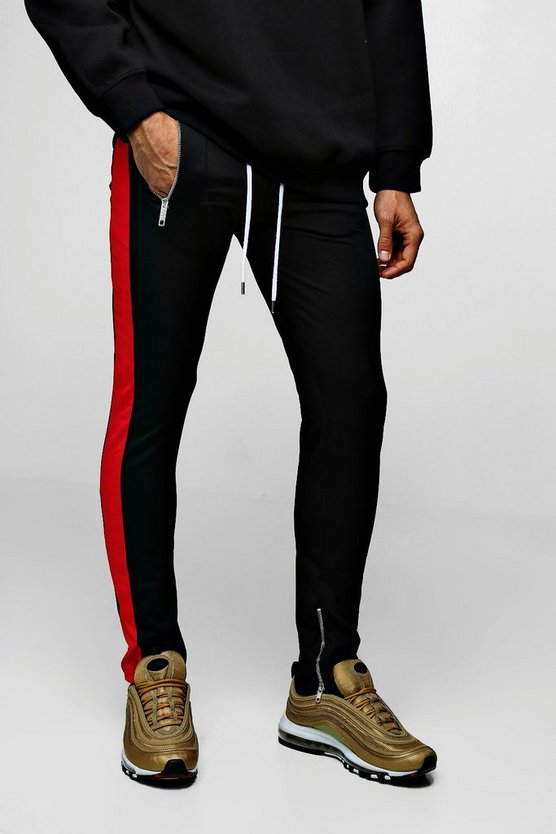 Mens Black Tricot Side Panel Joggers