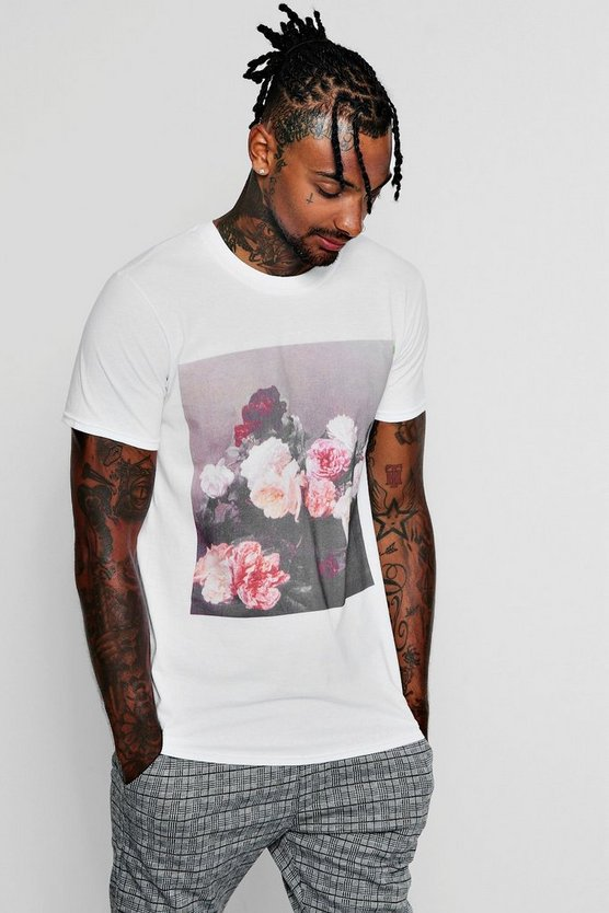 Mens White New Order Flower Photo Print T-Shirt
