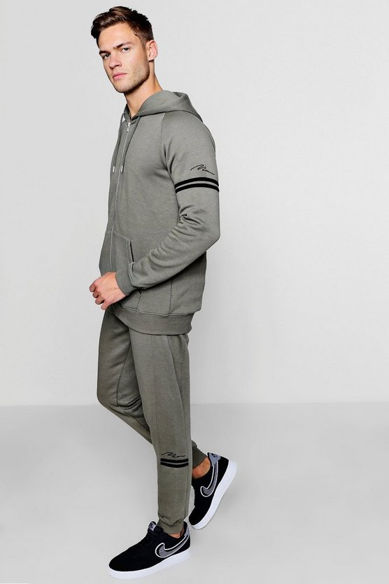 Zip Through Man Tracksuit With Contrast Stripe