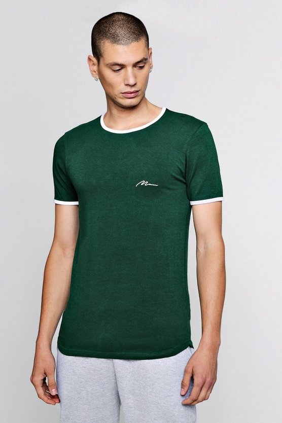 Mens Green Man Signature Muscle Fit T-Shirt