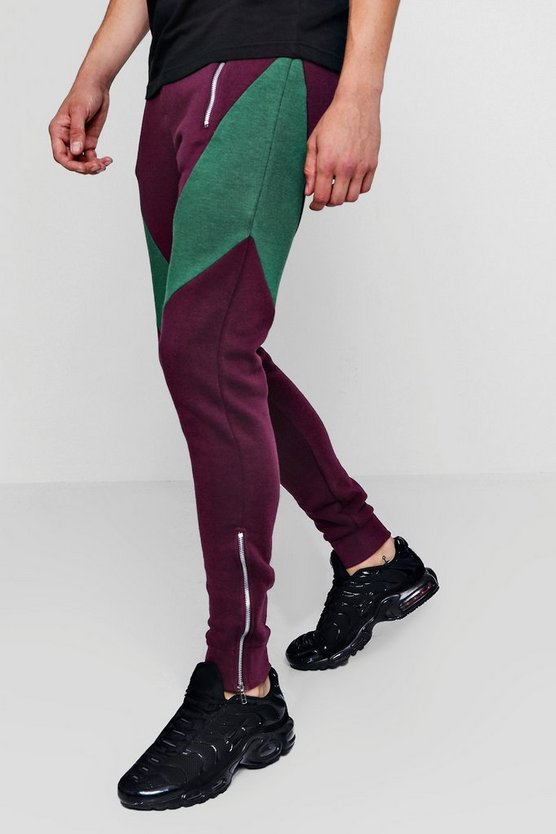 Colour Block Panel Zipped Slim Joggers