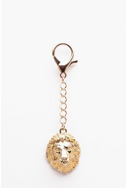 Mens Gold Lion Head Keychain