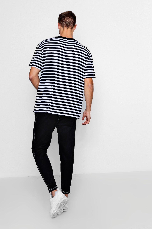 punto en correr con Pantalones de negro costuras superiores vwBSxZq