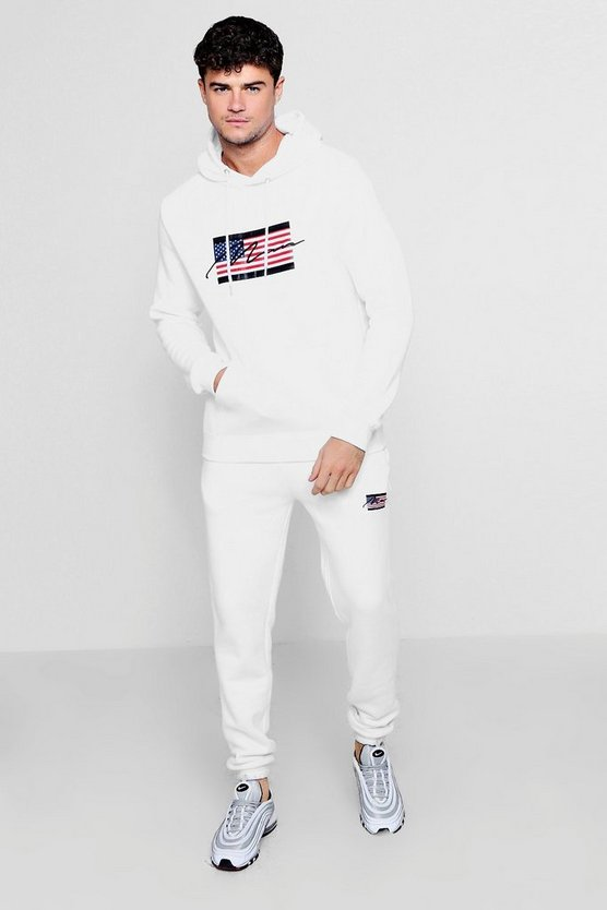 American Flag Tracksuit With MAN Embroidery