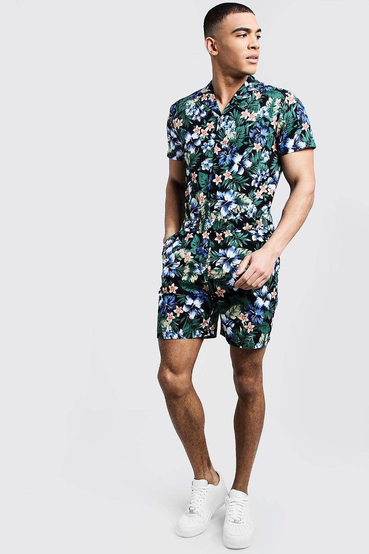 Floral Print Revere Collar Short Jumpsuit
