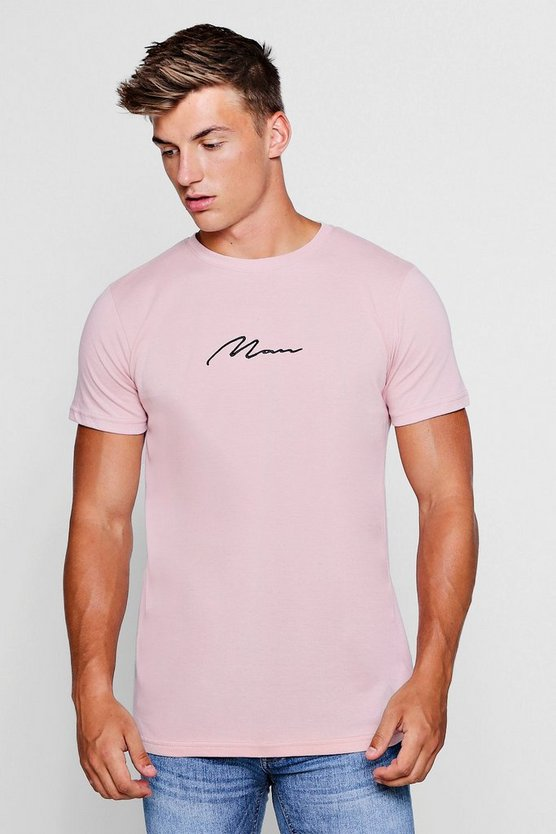 Man Signature Chest Embroidered Longline T-Shirt
