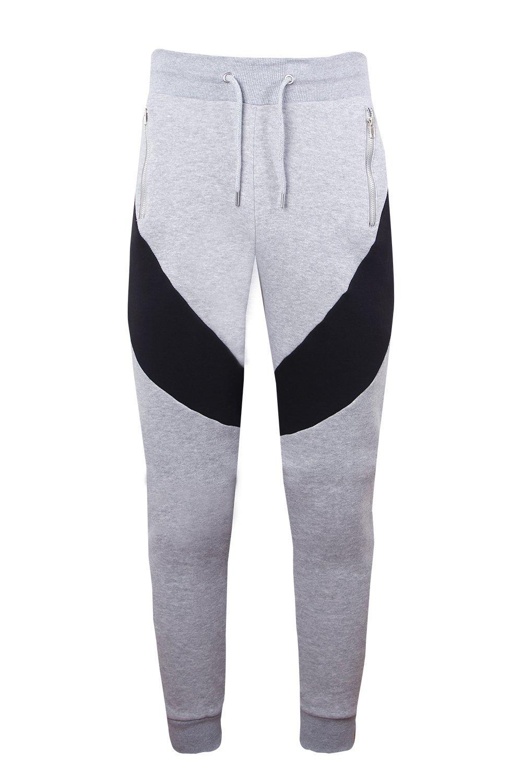 cremallera colores Pantalones piezas bloque en correr de y ajustados con gris de q4f8wR4I