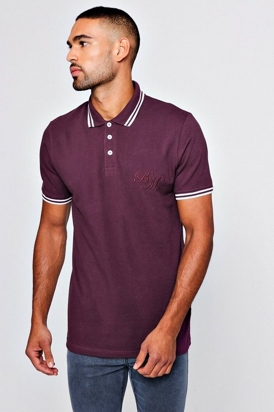 BM Embroidered Pique Polo With Tipping